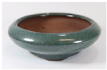 Bonsai Pot, Round (IL), 11cm, Green, Glazed